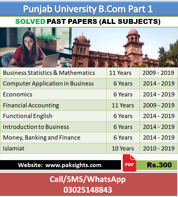 B.Com part 1 solved past papers latest up to date 8 in 1