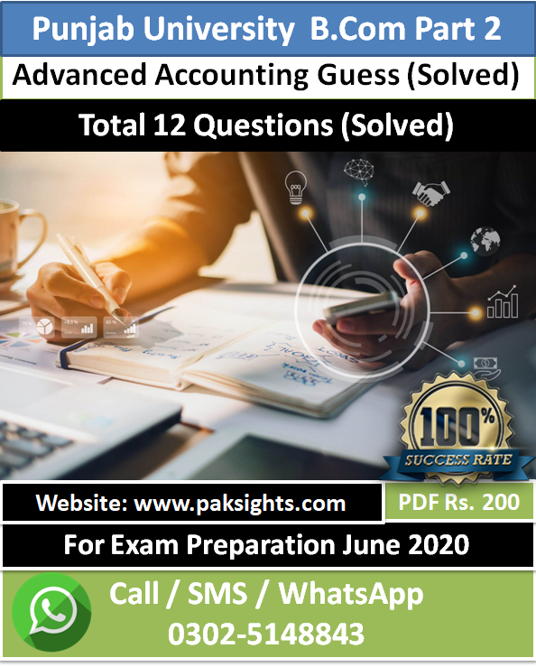 Advanced Accounting guess papers 2020 B.Com Part 2