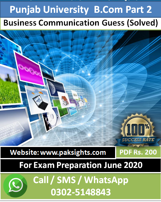 Business Communication guess papers 2020 B.Com Part 2